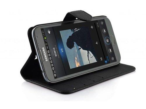 Кожаный кошелек книжка для Samsung Galaxy Note 2 Черный