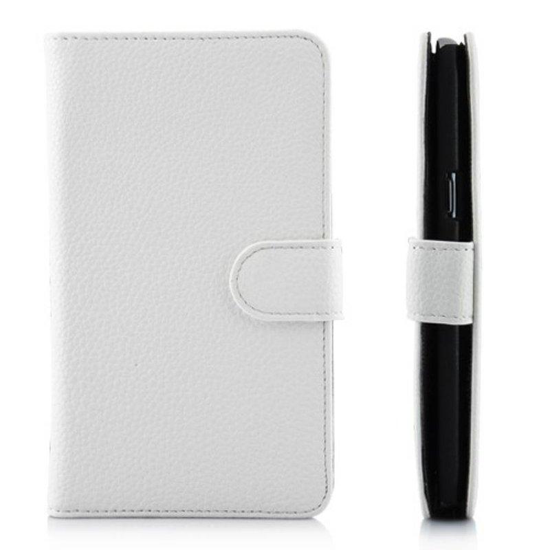 Кожаный чехол книжка для Galaxy Note 2 Белый