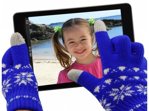 Перчатки с сенсорами Орнамент для iPhone, iPad, iPod, Samsung Galaxy Синие