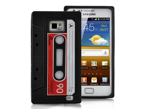 Силиконовый чехол кассета для Samsung Galaxy S2 Черный