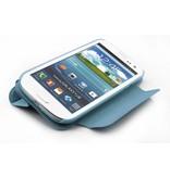 Кожаный чехол с подставкой для Samsung Galaxy S3 i9300 Голубой