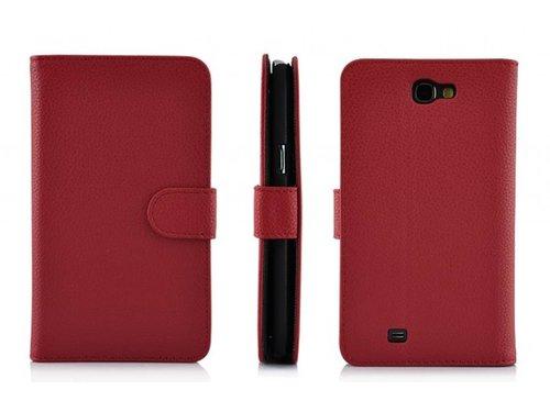 Кожаный кошелек чехол для Samsung Galaxy Note 2 Красный