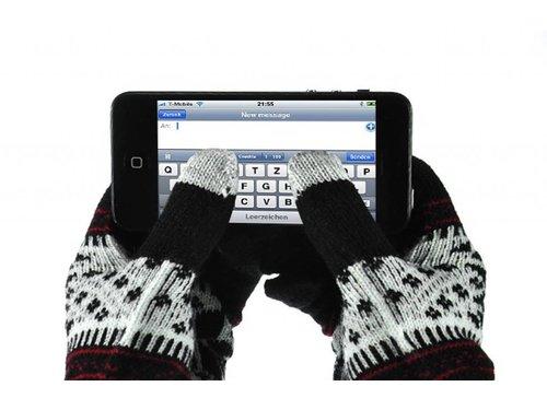 Сенсорные перчатки со снежинками для iPhone, iPad, iPod, Samsung Galaxy Черные