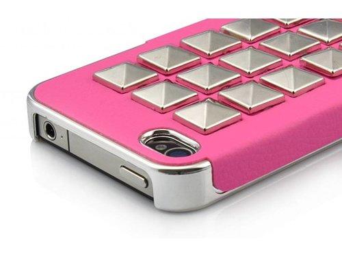 Дизайнерская задняя крышка с серебряными заклепками для iPhone 4, 4s Розовая