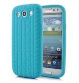 Силиконовый чехол шина для Samsung Galaxy S3 i9300 Голубой
