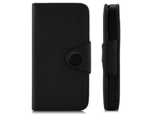 Кожаный чехол для iPhone 5/5s кошелек с застежкой Черный