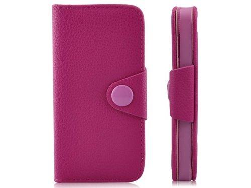 Кожаный кошелек чехол для iPhone 5/5s с застежкой Розовый