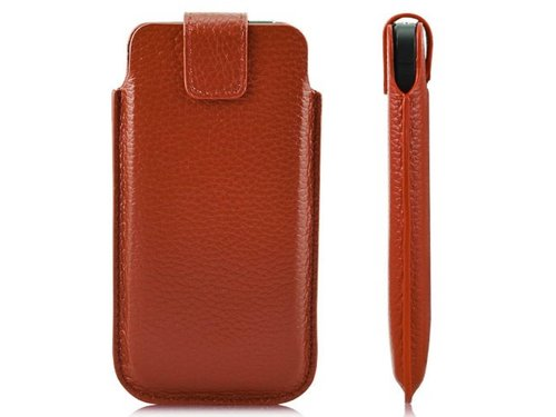 Кожаный чехол кошелек с застежкой для iPhone 5 s Оранжевая