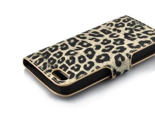Стильный кожаный чехол кошелек Леопард для iPhone 5/5s