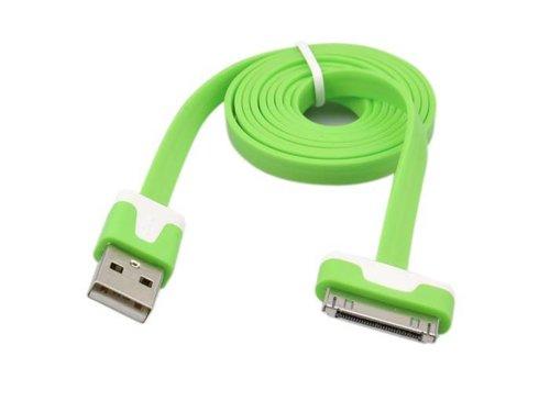 Плоский USB 2.0 кабель Apple для iPhone 3GS, 4/4s, iPad, iPod Зеленый