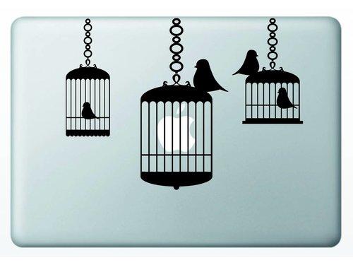 Виниловая наклейка для MacBook Птицы в клетке