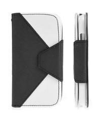 Кожаный чехол кошелек для Samsung Galaxy S4 Черно-белый
