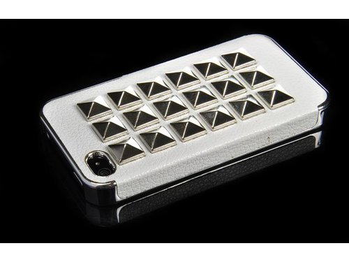 Дизайнерский кожаный чехол с серебряными заклепками для iPhone 4, 4s