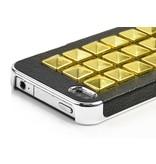 Дизайнерский чехол крышка с золотыми заклепками для iPhone 4, 4s Черный