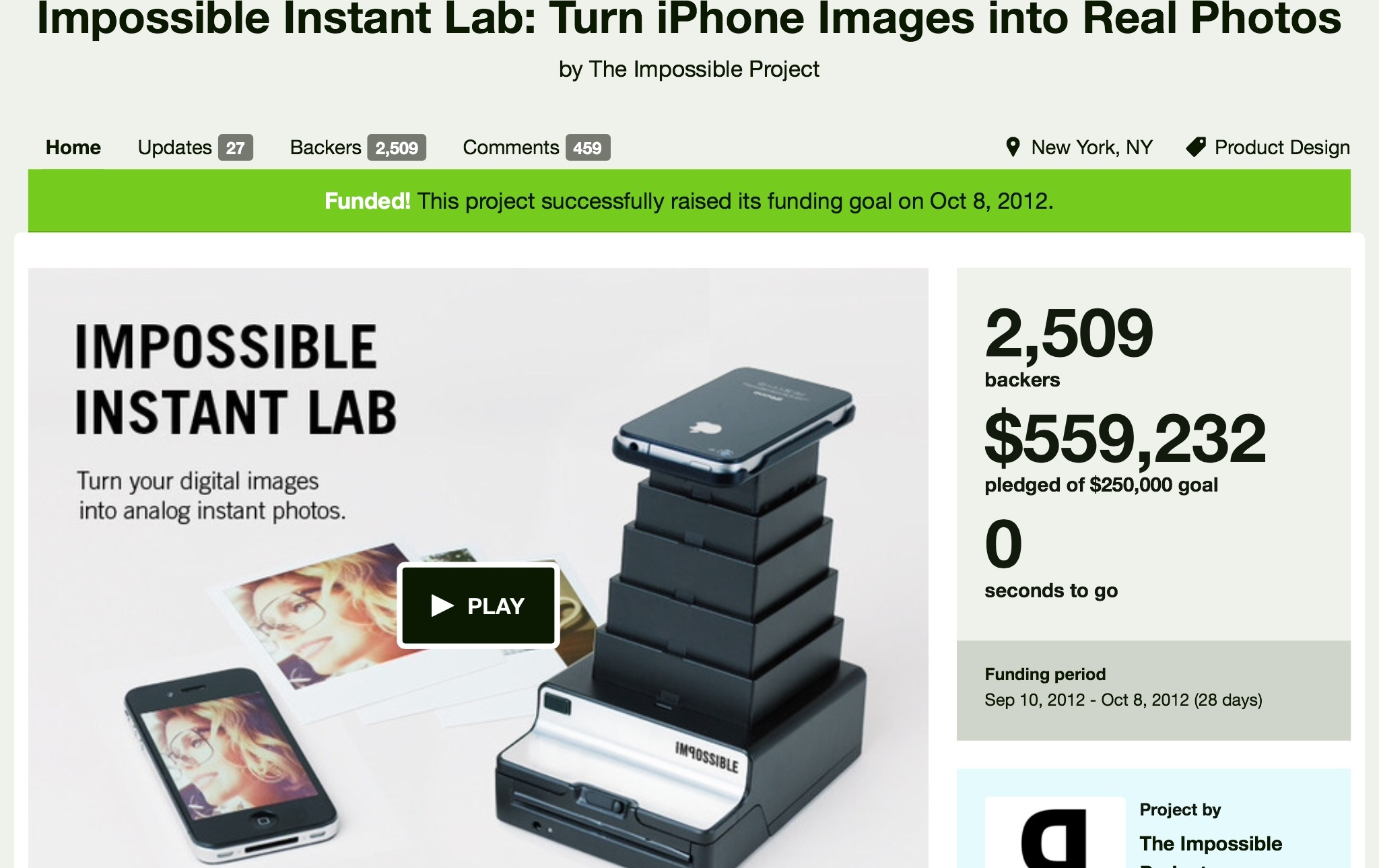 Instant Lab kick starter