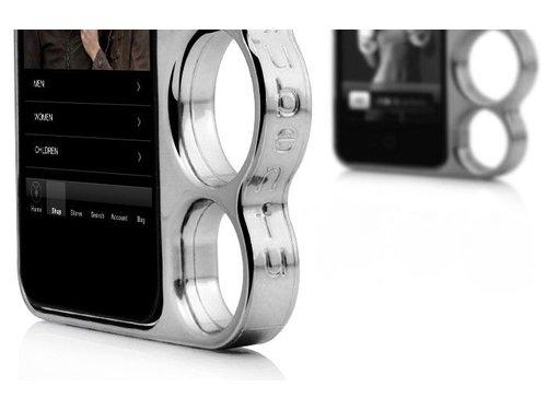 Дизайнерский бампер чехол кастет для iPhone 4, 4s Серебряный