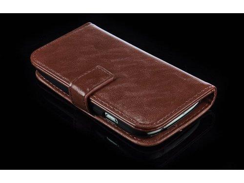 Кошелек бумажник для Samsung Galaxy S3 Mini i8190 Коричневый
