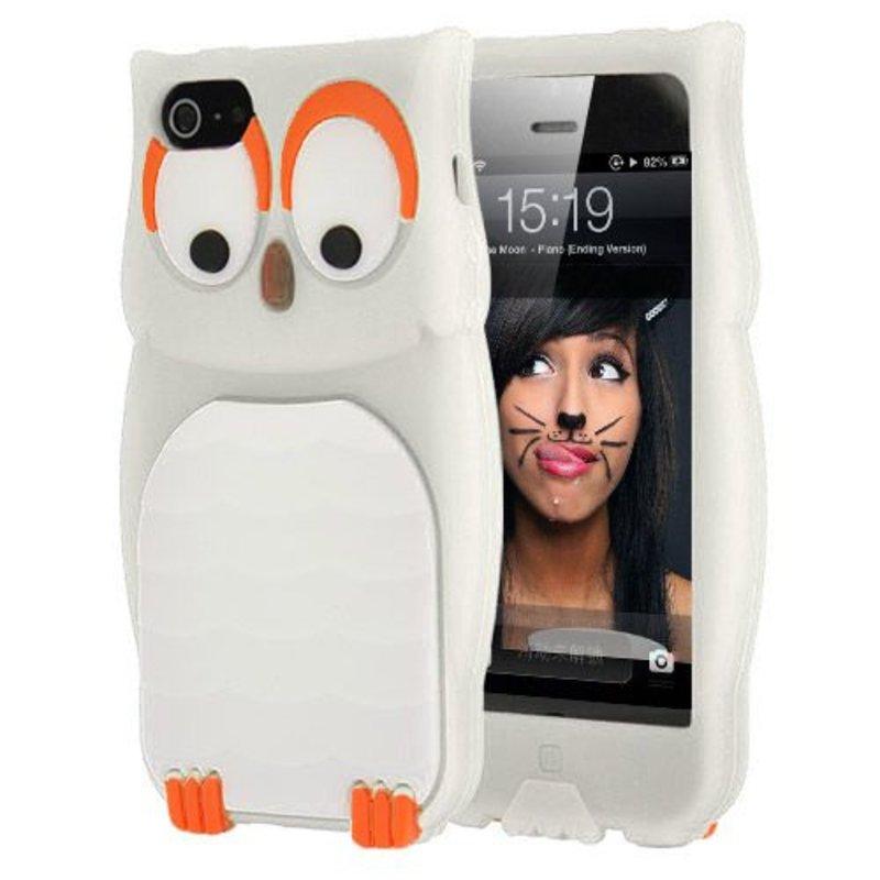Чехол Сова силиконовый для iPhone 5 Белый