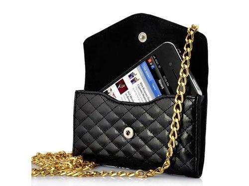 Кожаная сумочка на цепочке для iPhone 4/4s Черная