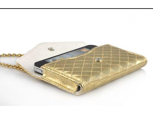 Кожаная сумочка на цепочке для iPhone 4/4s Золотая