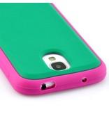 Яркий ТПУ чехол для Galaxy S 4 i9505 Зеленый / Розовый