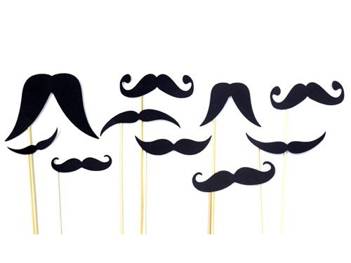 Картонные усы на палочке набор