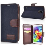 Чехол кошелек джинсовый для Galaxy S5 G900