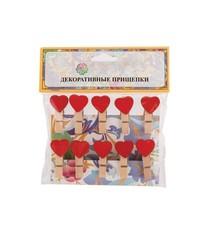 Прищепки красные сердечки 10 шт 3,5 см
