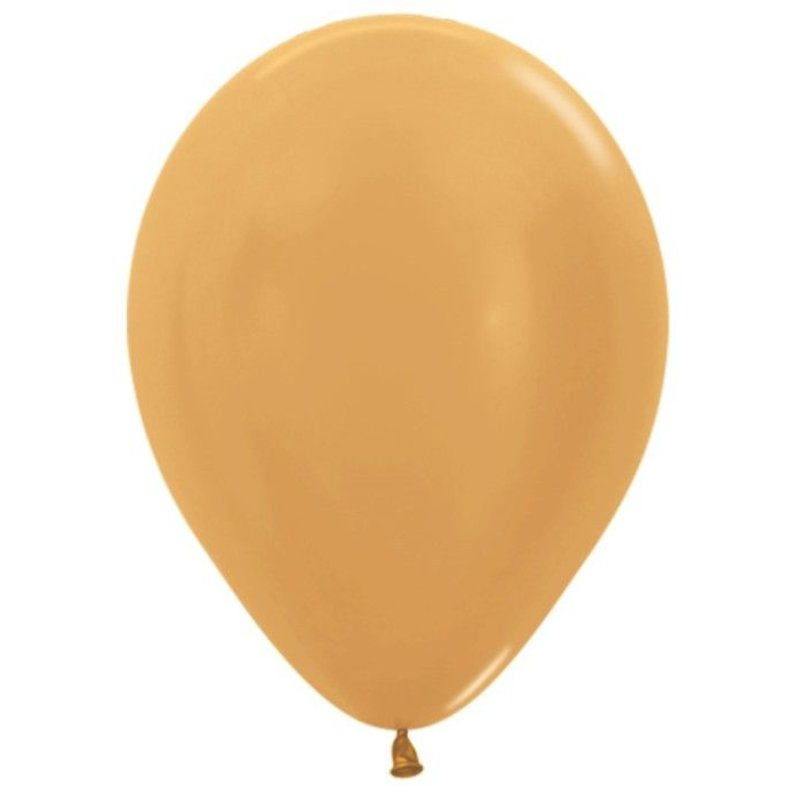 Золотые надувные шарики 10 шт 25 см