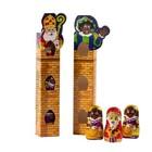"""Sinterklaas geschenk """"Door de Schoorsteen"""" gevuld met 3 chocolade figuren (worden assorti geleverd)"""