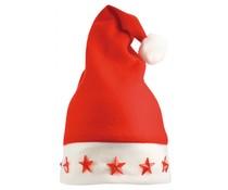 Goedkope kerstmutsen kopen? Rode Kerstmutsen uitgevoerd met lichtjes (volwassen maat)