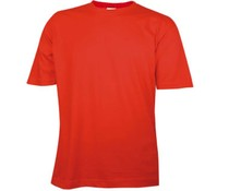 T-shirts in de kleur rood met ronde hals en korte mouw (100% katoen)