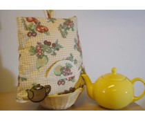 Дизайн чай Шапки с плодове печат (вкл. Wicker кошница и съвпадение чорапогащи)