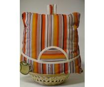Design Teewärmer mit orangen und schwarzen Streifen