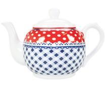 'Stippen & Ruiten' Fashion Teekanne mit blauen Quadraten und rote weiße Punkte (1 Liter)