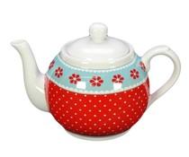 Богато украсени чайник с флорални мотиви и полка точки