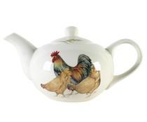 Pottery Teekanne (1 Liter) mit dem Thema Hühner