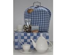 """Tip! Kado Idee? Stijlvol High Tea Themapakket """"Theebeurs boeren bont blauw"""" breukvoorkomend verpakt met papierwol in een blauwe geschenkdoos!"""