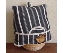 """Дизайн Cosy """"креда"""" с черно и бяло райе (вкл. Wicker кошница и съвпадение чорапогащи)"""