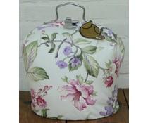 Theebeurs met bloemmotief in de kleuren violet/groen/bordorood