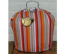 Design Theebeurs met frisse oranje en zwart getinte strepen