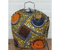 Design Theebeurs met speciale Batik stof in de kleuren oranje/blauw/okergeel