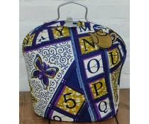 Design Theebeurs met gekleurde letters en cijfers (Batik stof)