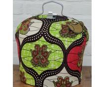 Design Theebeurs met speciale Batik stof in de kleuren groen, rood en zwart