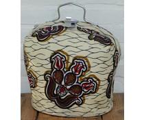 Design Theebeurs gemaakt van echte Batik stof met beige ondergrond en bruine en zwarte accenten