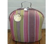 Design Theebeurs in frisse roze, bordeauxrode en groene strepen
