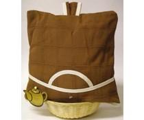 Design Theemuts in de kleur bruin (incl. rieten mandje en bijpassende inleg)
