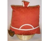 Design Theemuts in de kleur oranjerood met lichtere accenten
