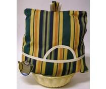 Design Theemuts met gele, groene en blauwe verticale strepen