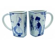 Задайте Делфт сини чаши със стари холандски печат